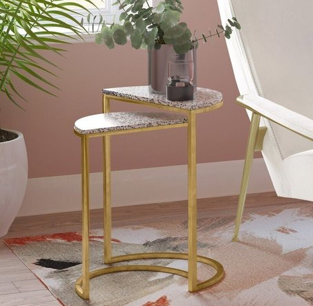 Crete Nesting Side Tables White & Gold