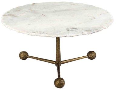 Orbital Coffee Table White & Antique Brass