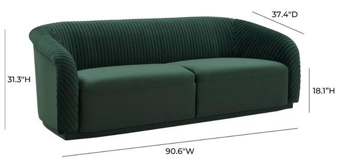 Yara Pleated Sofa Forest Green
