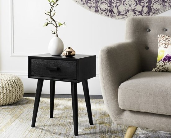 Alfred End Table With Storage Black