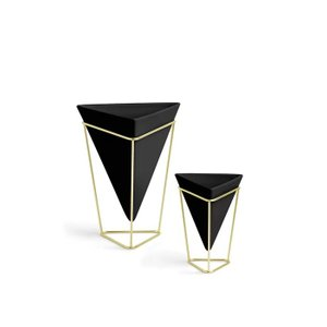 Trigg Table Vase Black And Brass (Set of 2)