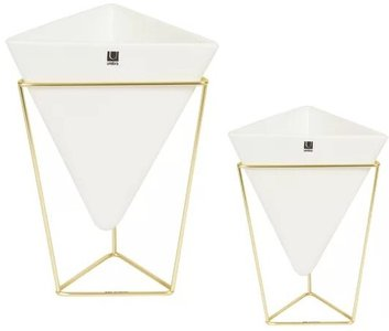 Trigg Table Vase White And Brass (Set of 2)