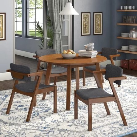 Lessman Dining Set For 4 Light Walnut/Gray