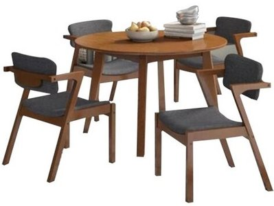 Lessman Dining Set For 4 Light Walnut/Gray