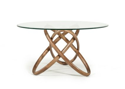Mason Modern Round Glass Dining Table Walnut