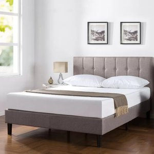 Cardiff Vertical Detailed Upholstered Platform Queen Bed Gray