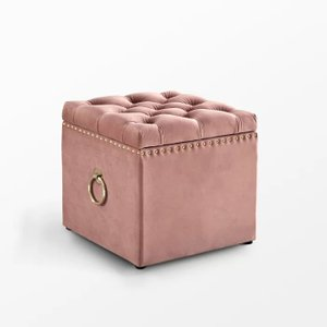 Mcclelland Tufted Storage Ottoman Blush Velvet