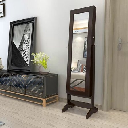 Slaton Jewelry Armoire With Mirror Brown