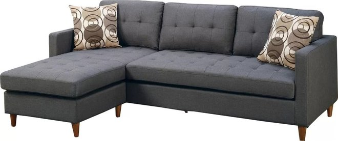 Citrine Reversible Sectional Sofa Gray