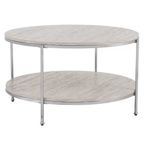 Stamper Faux Stone Coffee Table Gray And Chrome