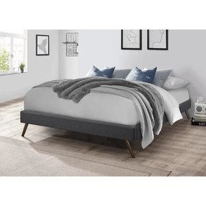 Bowser Upholstered Platform Queen Bed Dark Gray