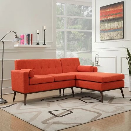 Altheimer Mid Century Modern Modular Sectional Sofa Orange in SF ...