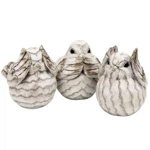 Thaler Resin Birds Figurine Cream (Set of 3)