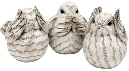Thaler Resin Birds Figurine Cream (Set of 3)