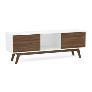 "Deville TV Stand For Tvs Up To 65"" White And Walnut"