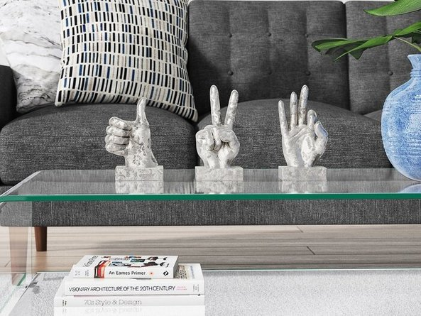Polystone Hand Sign Sculpture Silver (Set of 3)