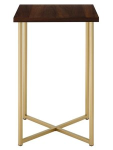 Dominique Square End Table Gold And Dark Walnut