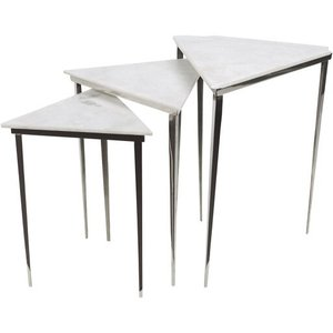 Westover Accent Table Silver And Ivory (Set of 3)