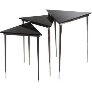 Westover Accent Table Black And Bronze (Set of 3)