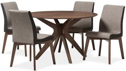 Kimberly Round Dining Set For 4 Dark Walnut