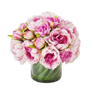 Peony Floral Glass Vase Magenta And Pink