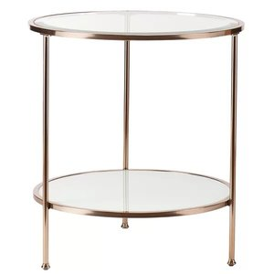 Judd End Table Gold & White