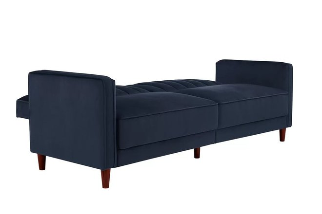 Halsey Pin Tufted Convertible Sofa Blue Velvet