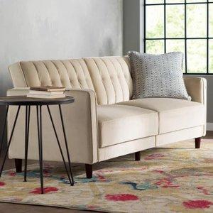 Halsey Pin tufted Convertible Sofa Tan Valvet