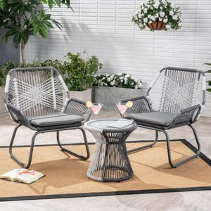 Brach Outdoor 3 Piece Seating Group with Cushions