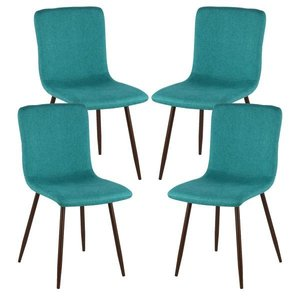 Mallory Dining Chair Walnut Leg Green (Set Of 4)