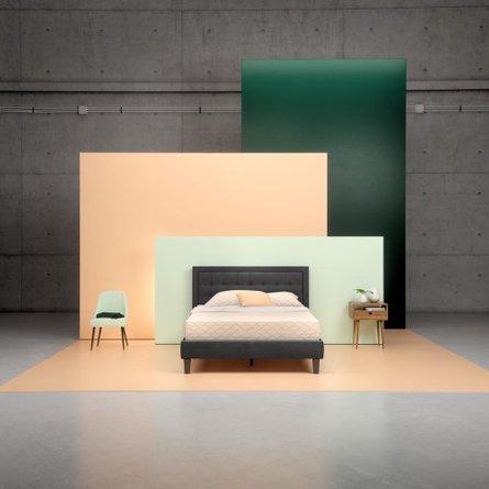 Heath Upholstered Tufted Center Platform Queen Bed