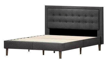 Heath Upholstered Tufted Center Platform Queen Bed Dark Gray