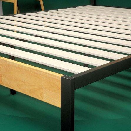 Hines Metal and Wood Tuscan Platform Full Bed Rustic Wood