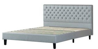Jasper Upholstered Grand Button Tufted Platform Full Bed Gray