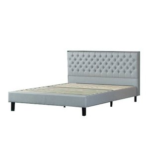 Jasper Upholstered Grand Button Tufted Platform Queen Bed Gray