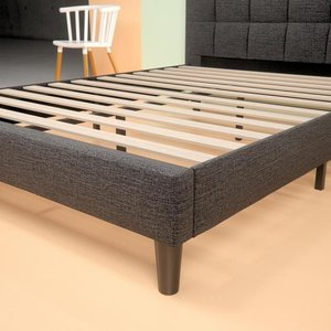 Jasmine Upholstered Square Stitched Platform Twin Bed Gray