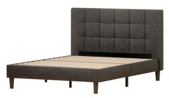 Jasmine Upholstered Square Stitched Platform Full Bed Black