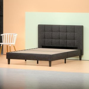 Jasmine Upholstered Square Stitched Platform Queen Bed