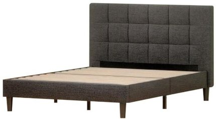 Jasmine Upholstered Square Stitched Platform Queen Bed Gray