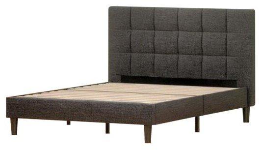 Jasmine Upholstered Square Stitched Platform King Bed Black