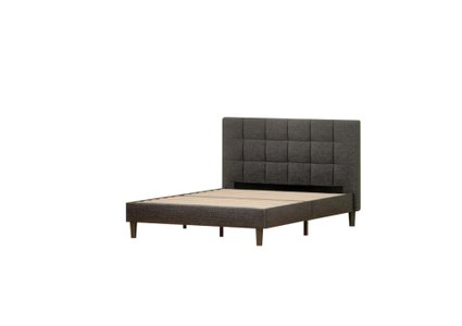 Jasmine Upholstered Square Stitched Platform King Bed Black