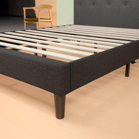 Hutton Upholstered Diamond Stitched Platform Full Bed Gray