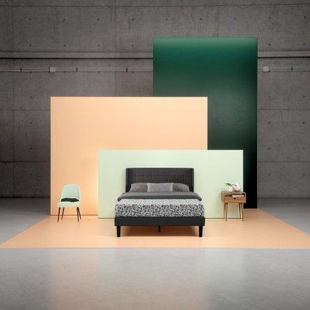 Invicta Upholstered Square Stitched Wingback Platform Full Bed Black