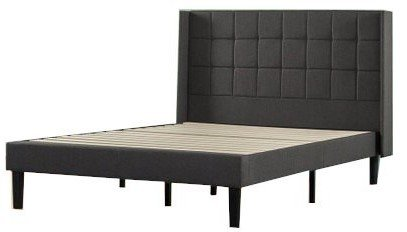 Invicta Upholstered Square Stitched Wingback Platform Queen Bed Black