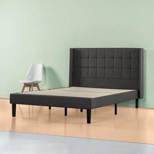 Invicta Upholstered Square Stitched Wingback Platform King Bed Black