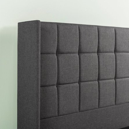 Invicta Upholstered Square Stitched Wingback Platform King Bed