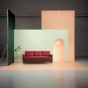 Makai Mid-Century Sofa Ruby Red