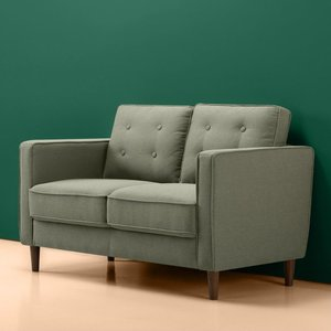 Makai Mid-Century Loveseat - Button Tufted Pear Green