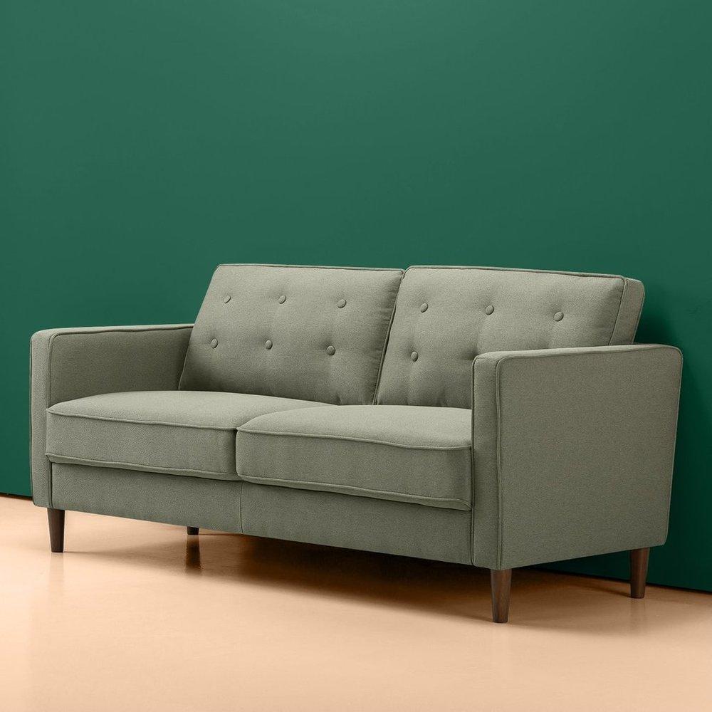 Makai Mid Century Sofa   Button Tufted Pear Green