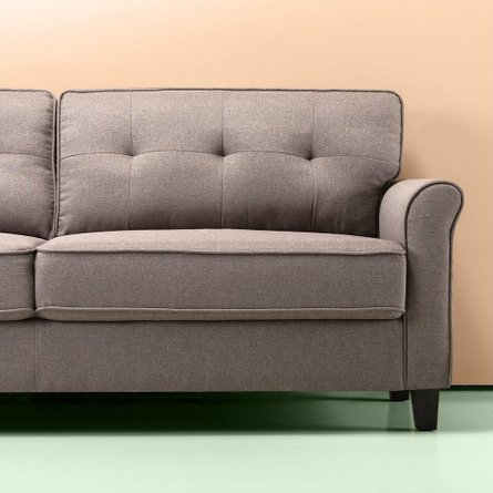 Herkimer Traditional Sofa - Tufted Sand Gray